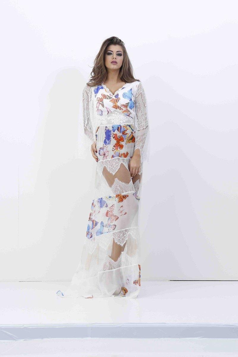 Butterfly silk & lace dress