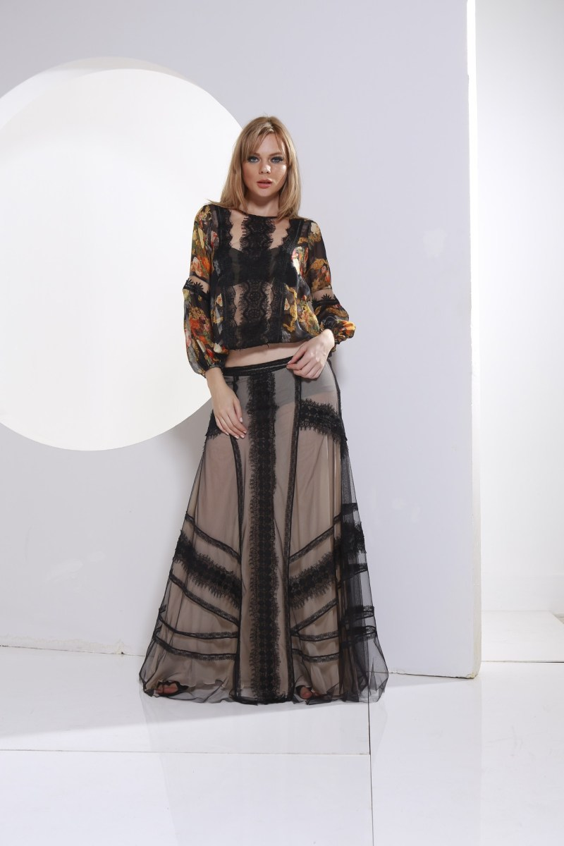 top chiffon and tulle skirt