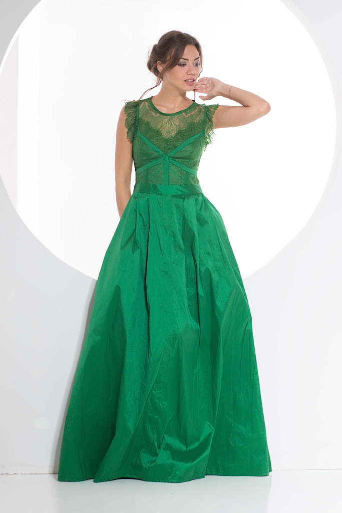 Green puff Tafta Dress