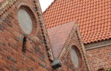 brick roof and building
