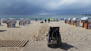 wheel chair in a beach resort