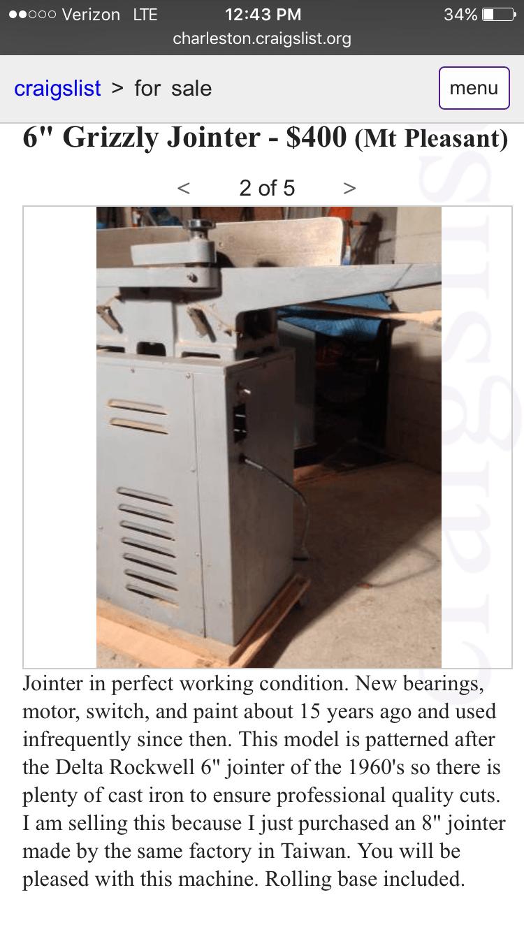 8 Jointer For Sale Craigslist