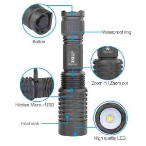 Trust fire z9 zoomable rechargeable flash light