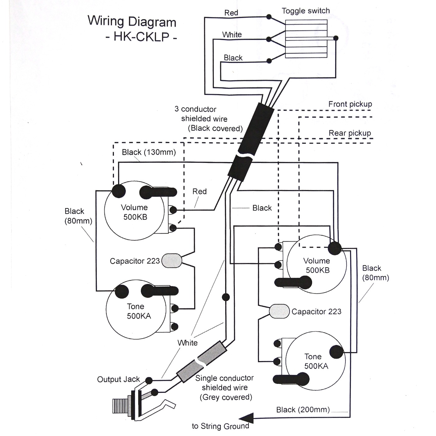 Wiring Kit for LP type Guitars, with diagram, Black