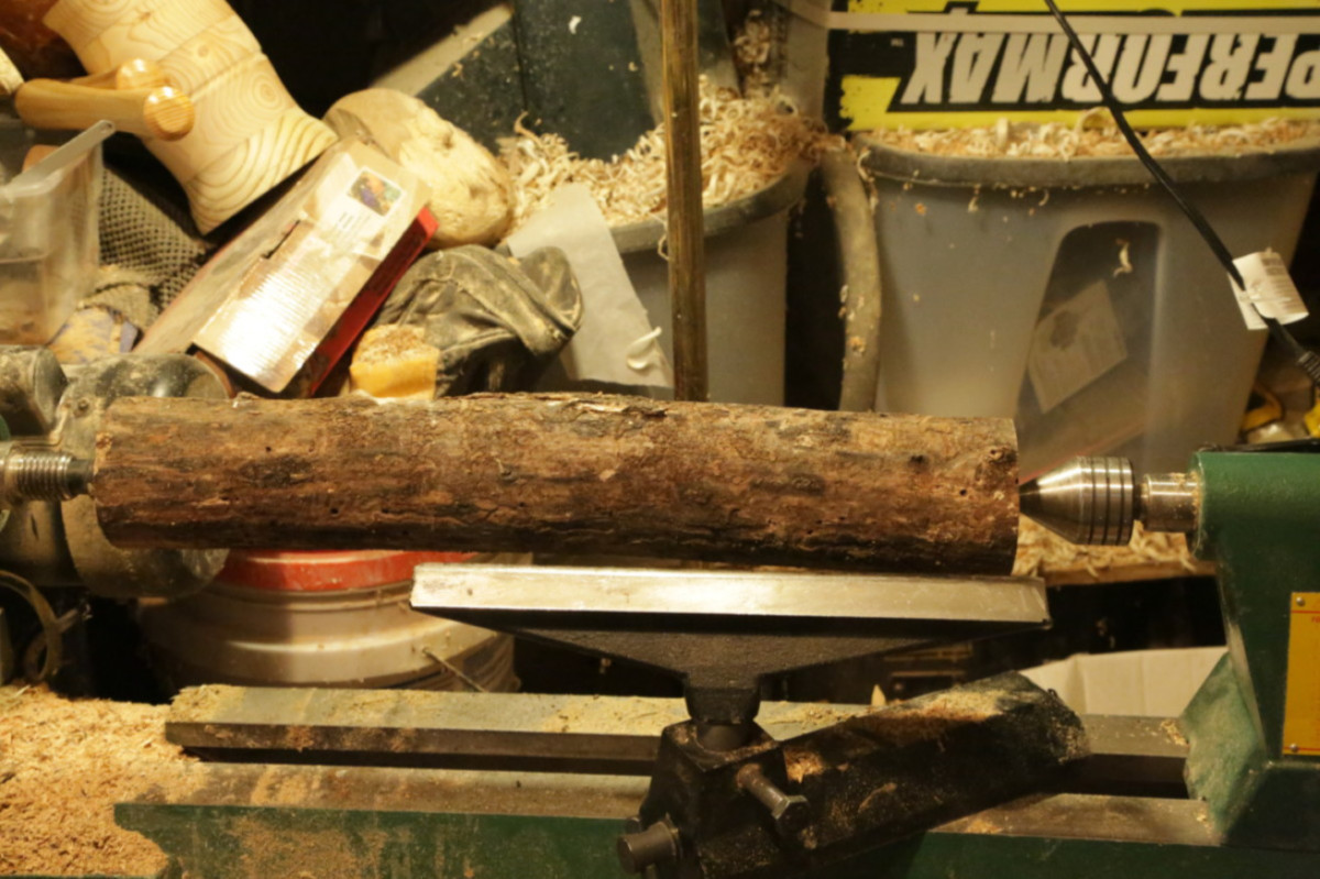 Wood turning tool handle from ash log