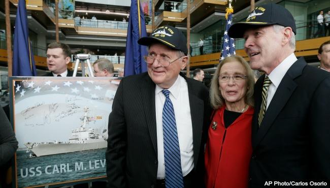 Former Sen Carl Levin US Navy destroyer naming 041116 AP_205952