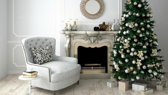 Christmas living room with a tree and fireplace. 3d rendering_50582
