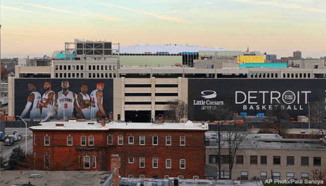 Little Caesars Arena Detroit Pistons sign 112216 file AP_363702