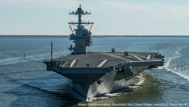 uss gerald r ford aircraft carrier AP file 2_372993