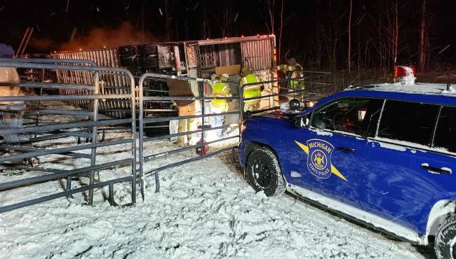 4 cattle killed after semi flips on I-94 in Van Buren Co