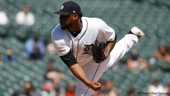 Detroit Tigers relief pitcher Jos Cisnero throws in the ninth inning of a baseball game against the Texas Rangers in Detroit, Thursday, June 27, 2019. (AP Photo/Paul Sancya)
