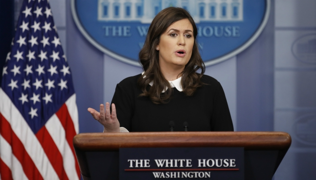 White House press secretary Sarah Huckabee Sanders speaks during the daily news briefing at the White House, in Washington, Monday, Feb. 26, 2018. (AP Photo/Carolyn Kaster)