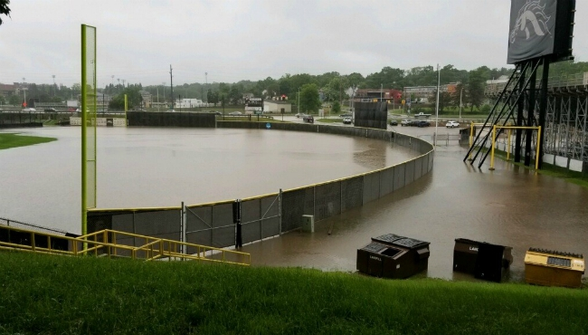 The field of Waldo Stadium flooded after heavy rains in Kalamazoo. (June 20, 2019)