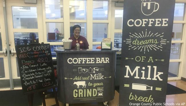 Coffee bar with dairy signs at Cypres Creek High School in Orlando Florida