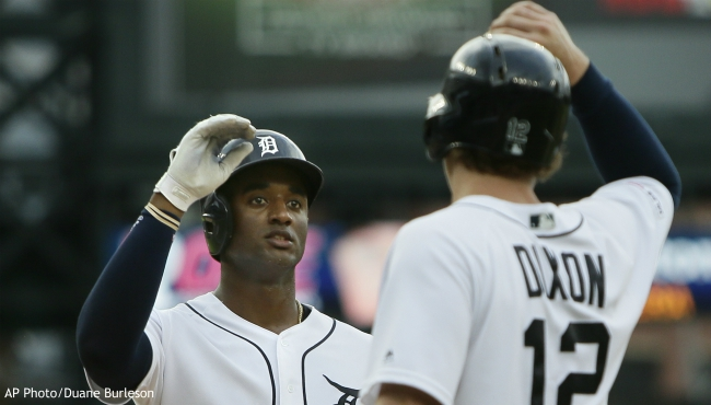 Detroit Tigers' Niko Goodrum celebrates with Brandon Dixon (12) after hitting a two-run home run against the Toronto Blue Jays during the second inning of a baseball game, Saturday, July 20, 2019, in Detroit. (AP Photo/Duane Burleson)