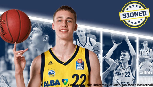 A photo of Franz Wagner. Courtesy of the University of Michigan Men's Basketball. (July 6, 2019)