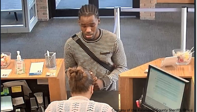 A surveillance photo of a suspect in an Oshtemo Township bank robbery. Courtesy of the Kalamazoo County Sheriff's Office. (July 13, 2019)