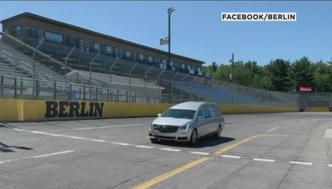 On Friday morning, a hearse took Veldman around the track for one final lap.