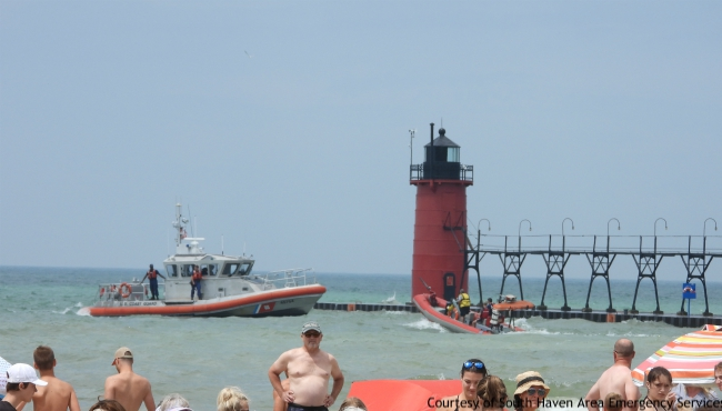 A photo of authorities searching for a drowning victim in South Haven on July 13, 2019. (Courtesy of South Haven Area Emergency Services)