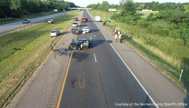 A photo of a crash on eastbound I-94 near the county line in Watervliet Township on Aug. 9, 2019. Courtesy of the Berrien County Sheriff's Office