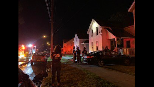 A photo of a fire on Wealthy Street SE and Eastern Avenue SE in Grand Rapids. (Aug. 10, 2019)
