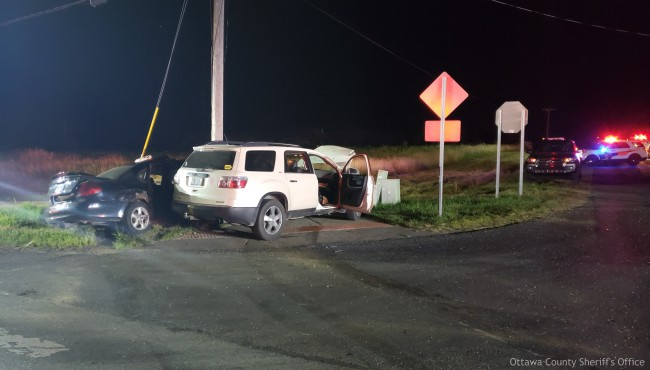 A photo of a two-vehicle crash in Jamestown Township Thursday, Aug. 1, 2019.