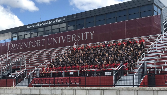A photo of Davenport University's football team on Aug. 23, 2019.