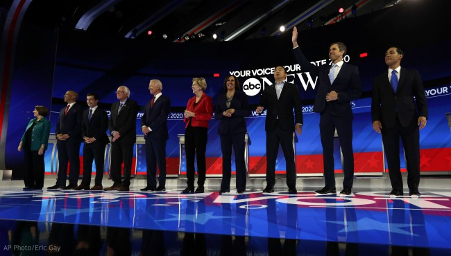 From left, Democratic presidential candidates Sen. Amy Klobuchar, D-Minn., Sen. Cory Booker, D-N.J., South Bend Mayor Pete Buttigieg, Sen. Bernie Sanders, I-Vt., former Vice President Joe Biden, Sen. Elizabeth Warren, D-Mass., Sen. Kamala Harris, D-Calif., entrepreneur Andrew Yang, former Texas Rep. Beto O'Rourke and former Housing Secretary Julian Castro are introduced for the Democratic presidential primary debate hosted by ABC on the campus of Texas Southern University Thursday, Sept. 12, 2019, in Houston. (AP Photo/Eric Gay)