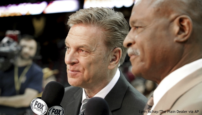 "In this Feb. 25, 2014, photo, longtime sportscaster and announcer Fred McLeod works with Austin Carr, right, at a Cleveland Cavaliers game in Cleveland. McLeod has died. He was 67. The Cavaliers said McLeod died suddenly Monday night, Sept. 9, 2019, but did not elaborate. They called him a ""great friend and teammate"" and a ""heart-felt ambassador."" (Lynn Ischay/The Plain Dealer via AP)"