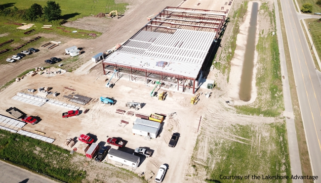 A photo of construction of the Plascore facility expansion in Zeeland. (Courtesy of the Lakeshore Advantage)