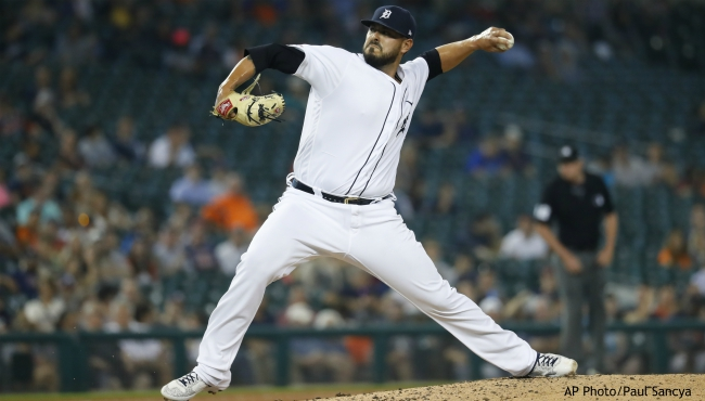 Detroit Tigers relief pitcher Nick Ramirez throws against the Chicago White Sox in the fifth inning of a baseball game in Detroit, Friday, Sept. 20, 2019. (AP Photo/Paul Sancya)