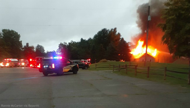 Authorities on scene of a large fire at the Saskatoon Golf Club in Caledonia Township Thursday, Sept. 12, 2019. (Ronnie McCarter via ReportIt)