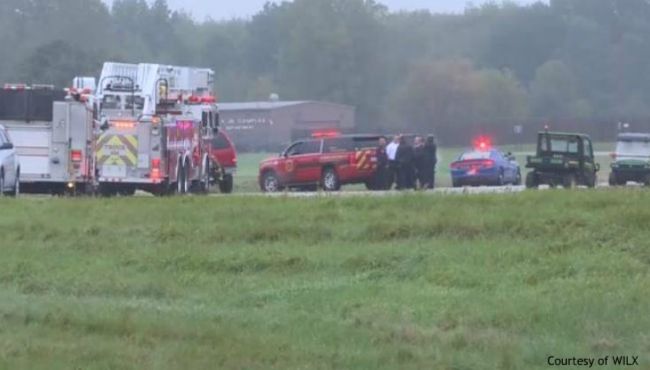 A photo of a small plane crash in Lansing. Courtesy of WILX. (Oct. 3, 2019)