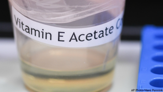 This Monday, Nov. 4, 2019 photo shows a vitamin E acetate sample during a tour of the Medical Marijuana Laboratory of Organic and Analytical Chemistry at the Wadsworth Center in Albany, N.Y. (AP Photo/Hans Pennink)