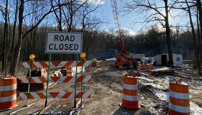 A photo of construction at White's Bridge in Ionia County. (Dec. 11, 2019)
