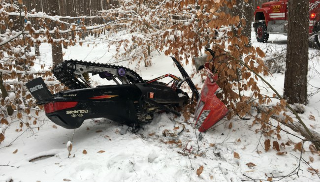 The scene of a deadly snowmobile crash in Wexford County Jan. 12, 2020. (Michigan State Police)