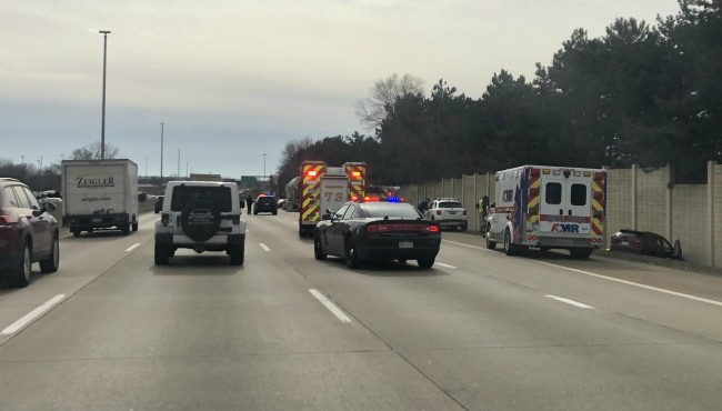 Authorities on scene of a crash on southbound US-131 in Wyoming Monday, Feb. 24, 2020.