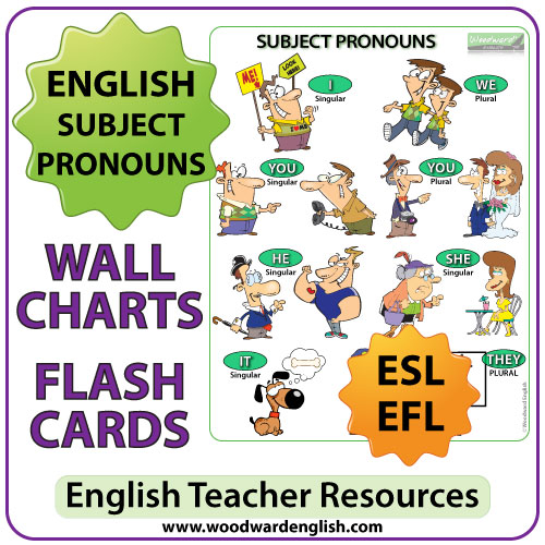 Subject Pronouns In English – Chart – Flash Cards