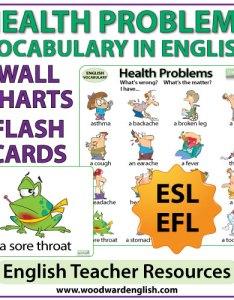 Health problems esl vocabulary charts also in english  flash cards woodward rh woodwardenglish