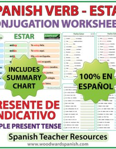 Estar spanish verb conjugation worksheets simple present tense presente de indicativo also  rh woodwardspanish