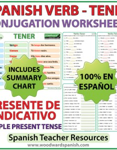 Spanish worksheets to learn the correct conjugation of verb tener in simple present tense also  rh woodwardspanish