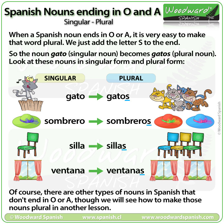 Spanish Nouns ending in O and A – Singular or Plural   Woodward Spanish