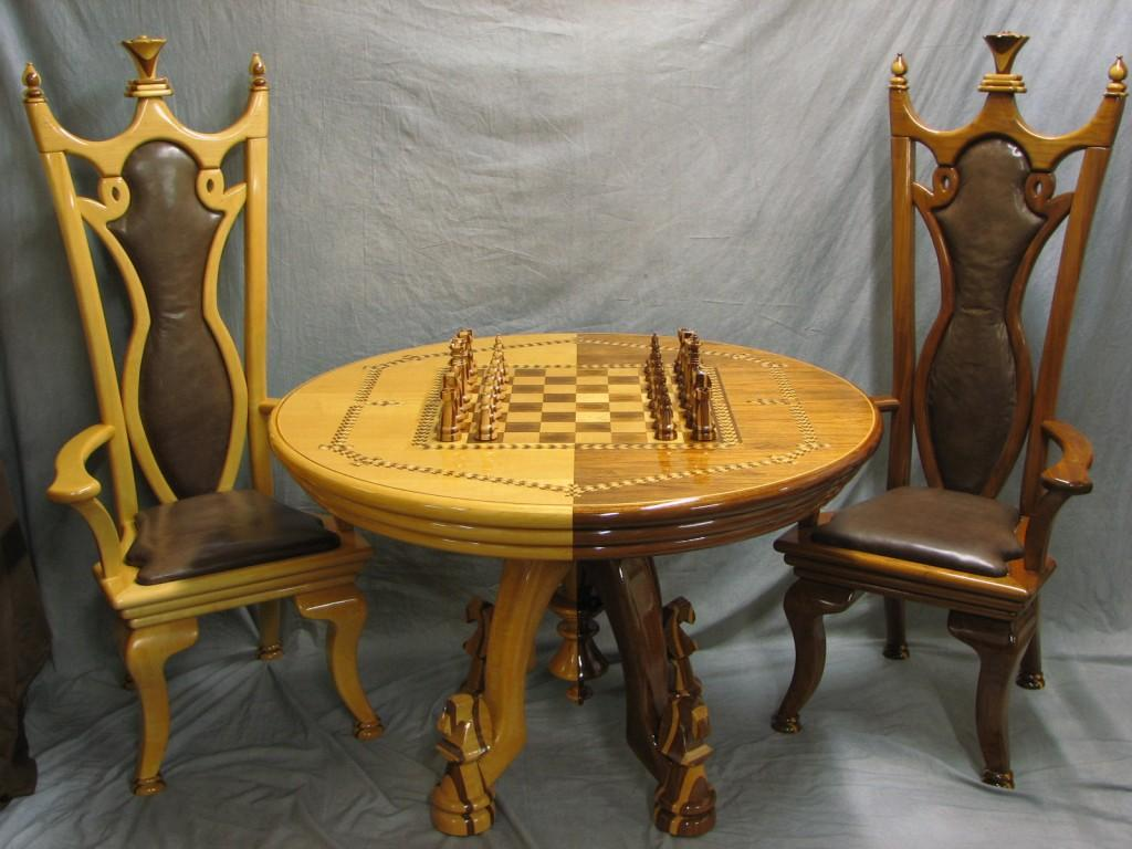 Chess Table, Chairs, & Chess Set