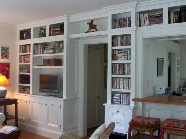 Built in Bookshelves with Cabinets