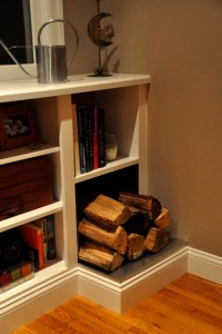 Fireplace Bookshelves with Cord Wood Storage