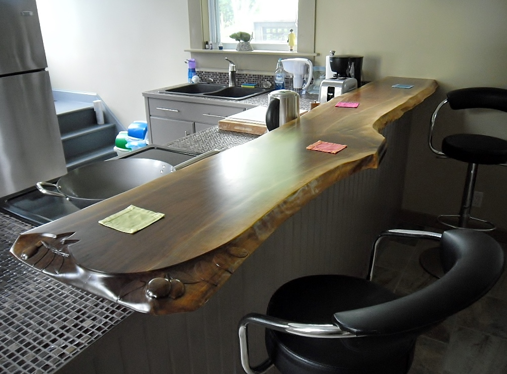Carved Live Edge Bar Top
