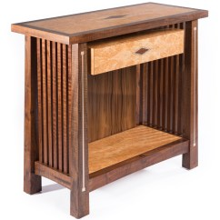 Stickley Sterling Sofa Table Decorating With Brown Leather Sofas Inspired Side Silver And Copper Inlay