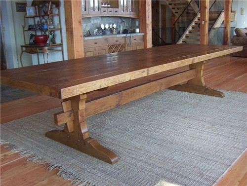 12 handhewn trestle table