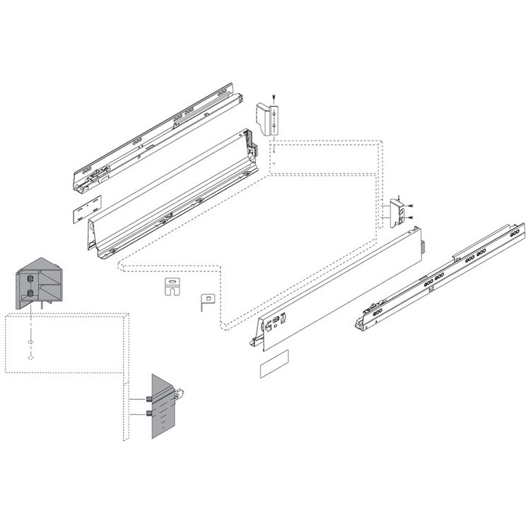 Blum ZSF.340E.M1 TANDEMBOX Space Corner Set (Front and