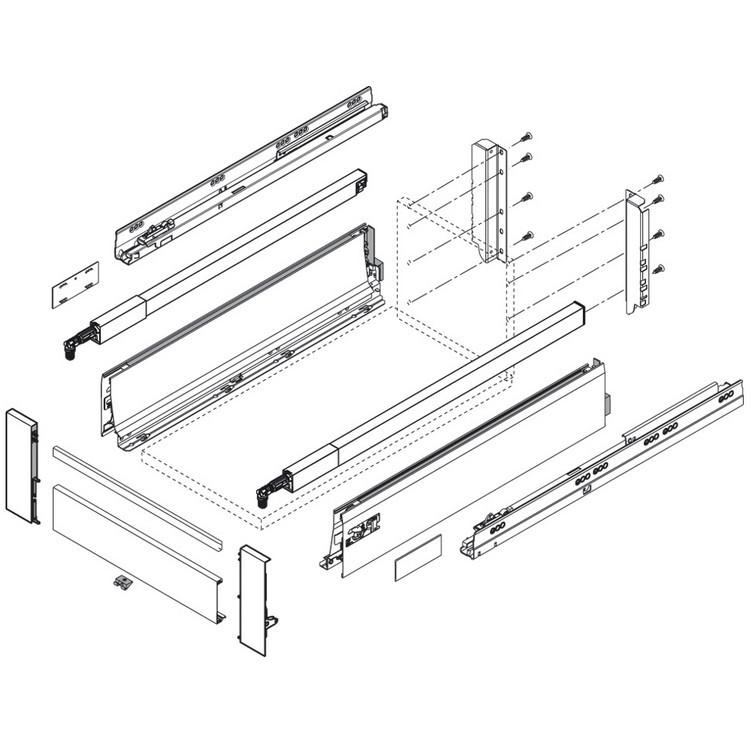 Blum TANDEMBOX Drawer System Intivo Rear Bracket Set, Left